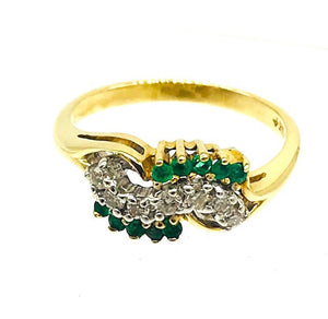 Quality Wave, 1/3rd Carat,  Emerald and Diamond, 14 Kit Ring