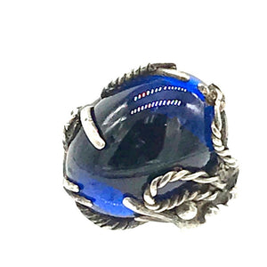 Spider Web, Cobalt Blue Sterling Custom Ring, 925