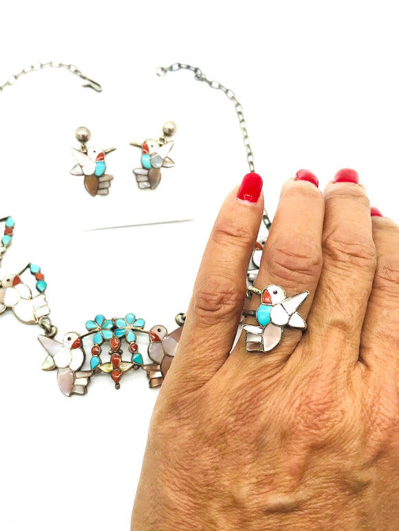 Artist Hummingbirds, Earring Necklace Ring Set. Turquoise and Mother of Pearl.