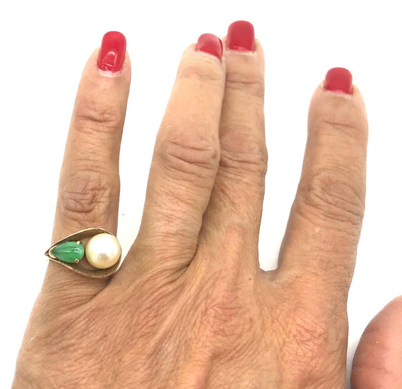 Jade, Pearl Open Free  Form, 14 Kt. Gold Ring