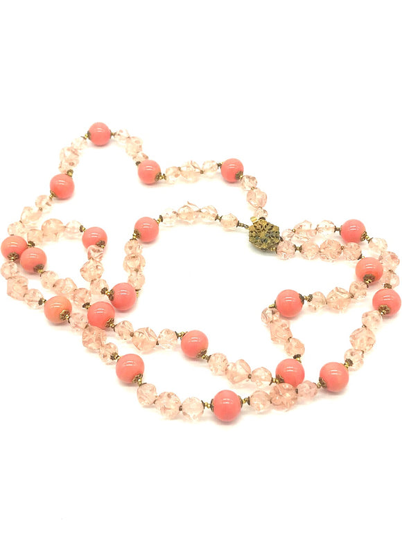 Double Strand Coral and Crystal Beads,Circa 1920's
