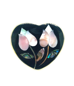 Enameled Heart, Mother of Pearl, Aldaca 925 Sterling Artisy Pin