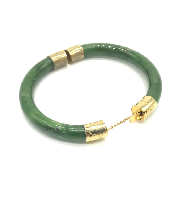 Green Jade, Bangle bracelet with Etched Gold Clasp