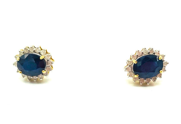 Sapphire, Halo Diamond 2.30 TCW Stud Earrings, 14 Karat