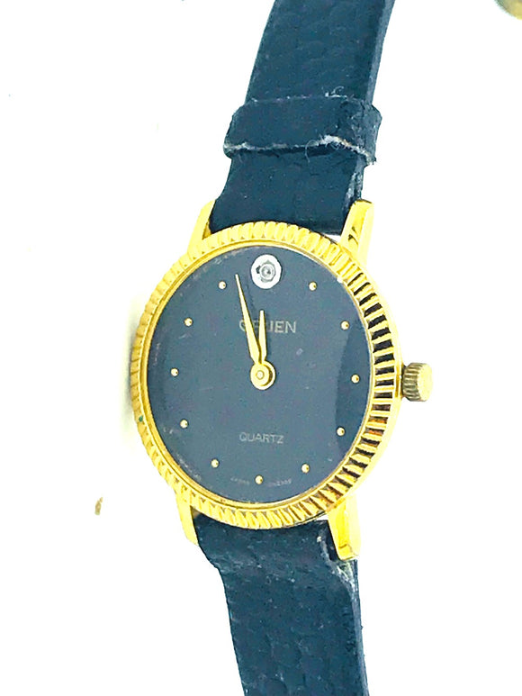 Gruin, Quartz Ladies, Black faced watch with strap