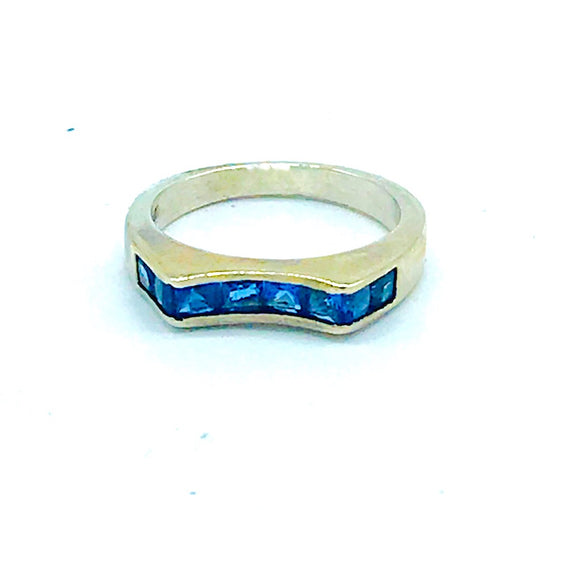 Blue, Princess Cut Channel Set, 4.50 mm Band Ring