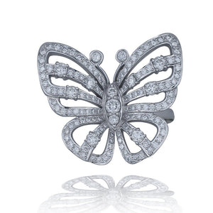 LG. Butterfly, 2.50 TCW, 18 KT Wht Gold