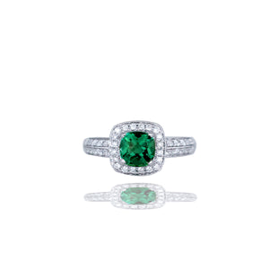 Halo, Cushion Green Stone, Diamond Pave, 14Kt White Gold<