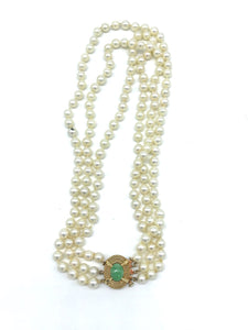 Vintage, Jade Clasp on 3-Strand 6 mm Pearl, Necklace