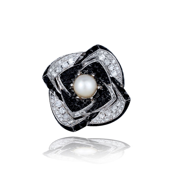 Modern, Large 9 TCW Flower Ring, Diamonds, Black Spinel and More!<