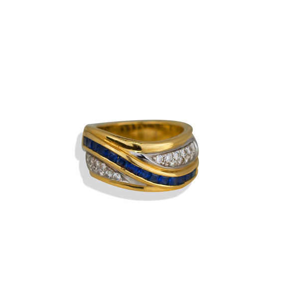 Princess Sapphire and Diamond Channel, 1.70 TCW, Wide Band Ring<