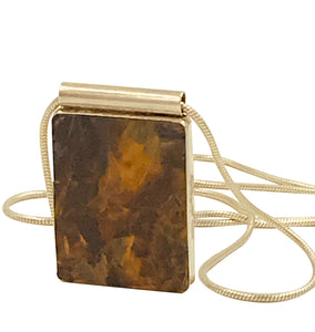 Jasper, Contemporary Bezel Set in Sterling with Chain