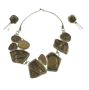 Tribal Set, Mineral Necklace, Earring Sterling Silver, HV Shirley Hallmarked