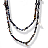 Amethyst Bead necklace 40 inch strand SPARKLING with Sterling and Freshwater Pearls