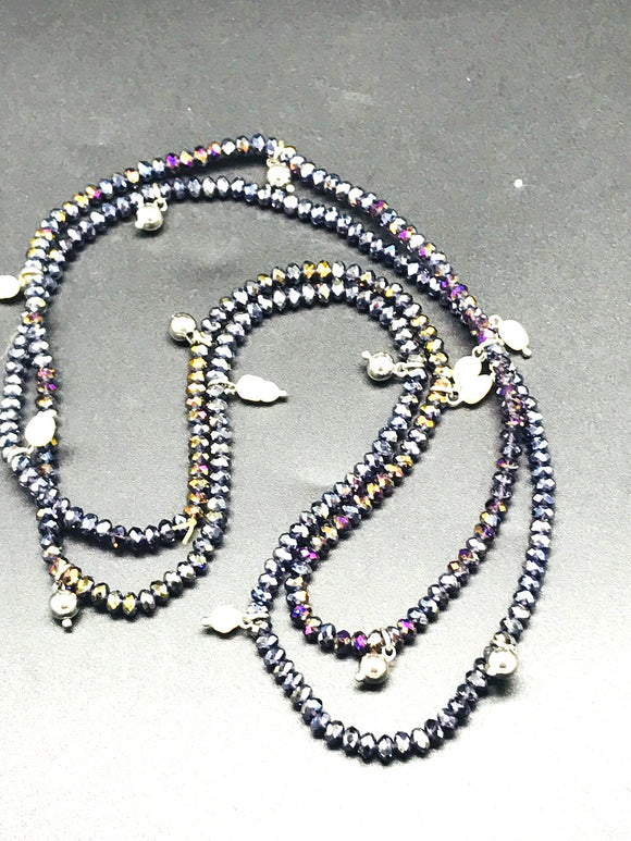 Amethyst, 40 inch strand, SPARKLING Beads with Sterling and Freshwater Pearls