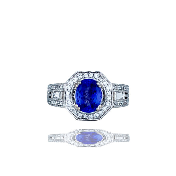 Contemporary, Hexagon, Tanzanite and Diamond, 2.70 TCW Ring, Top Quality 18KT