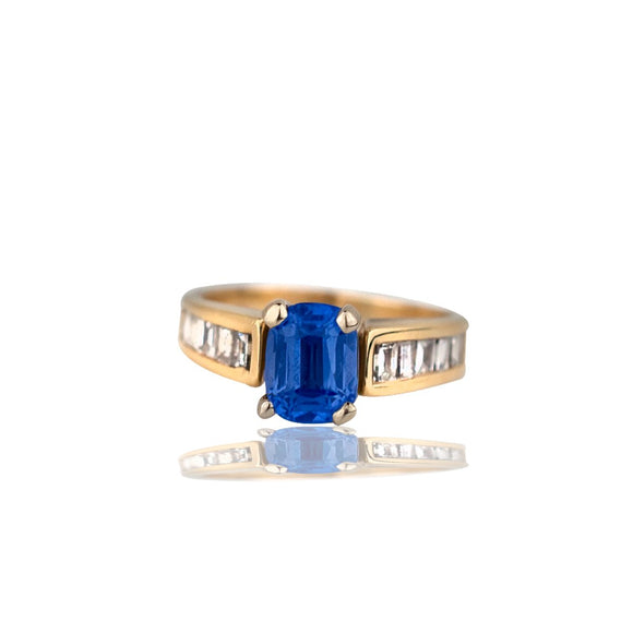 Emerald Cut Tanzanite and Baguette Diamonds, 1.38 TCW 14kt Gold, Ring