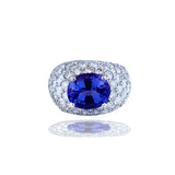 Contemporary, 8.90 TCW, Pave Domed, Diamond Ring with Tanzanite, 18Kt