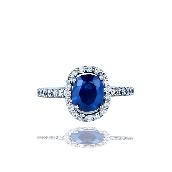 Halo, 2.85 TCW, Sapphire and Diamond Ring, Top Quality 14KT