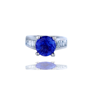 Tanzanite Ring,  5.24 TCW, Channel Styled with Baguette Diamond, Top Quality, 18KT