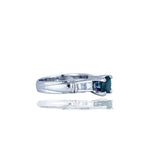 Contemporary,  1.30 TCW Platinum, Bluish Spinel and Princess Diamond Ring,