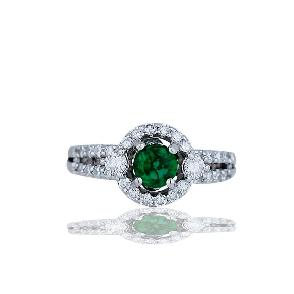 Chatham Emerald set with Diamonds in Halo Diamond Ring, 1.25TCW