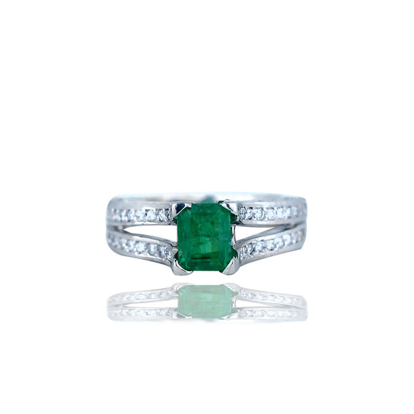 Radiant Emerald and Diamond, 4.26 TCW Double shanked,  Colombian Emerald, Encrusted Ring