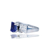 Platinum Ring, Bow-Tie Styled With Baguette Diamond & Tanzanite