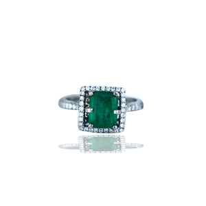Stunning, 2.48 TCW, Colombian Emerald set in Halo Diamond Ring