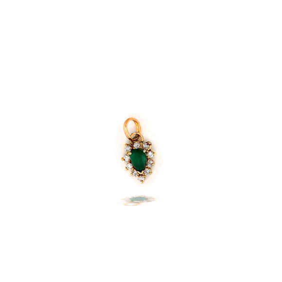 Tear-drop, Emerald and Diamond Pendant, .80 TCW
