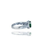 Stunning,  3.38 TCW, Colombian Emerald set in Halo Diamond Ring