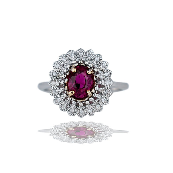 Tourmaline and Diamond Ring Accented In Tear-Shaped, Halo 14 Karat Gold<