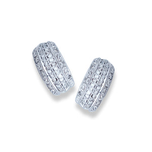 Five-Row, Channel 1/4 CT. Diamond Earrings, 14 Karat White Gold
