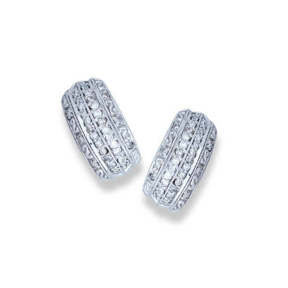 Five-Row, Channel 1.20 CT. Diamond Earrings, 14 Karat White Gold