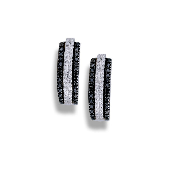 Chocolate, Black & White Diamond Huggy, Pave Set Earrings, 1.00 Carat