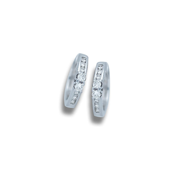 Single Row .25 CT. Diamond 14 Karat White Gold Huggie Hoop Earrings