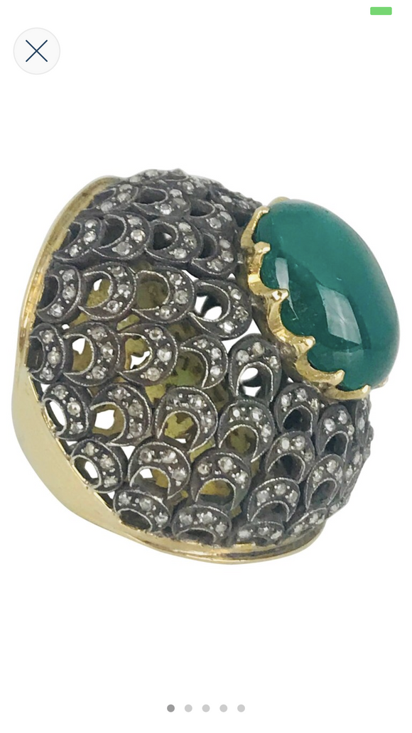 Edwardian, 17 Carat Oval Diopside  Bubble Ring & 2.00 carat diamond