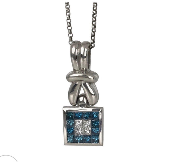 Blue Diamond Pendant Necklace With 1.50 Carats Total Invisible Setting With Chain