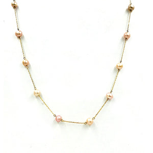 Pearl Strand Chain, Gold Karat Chain Necklace