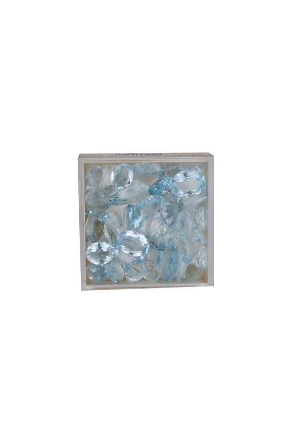 Surprise 200.00 Carats of Mixed, Blue Topaz Box of Loose Gems, Genuine