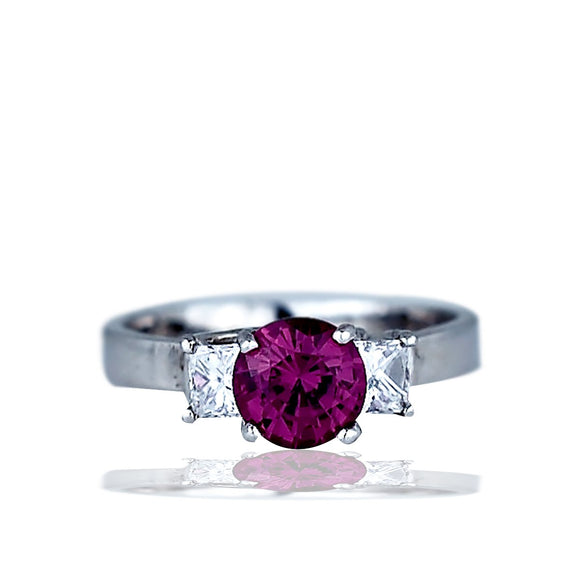 Tourmaline and Diamond 3 Stone, 14 Karat White Gold 2.00 TCW Ring