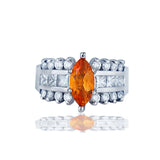Marquise, Orange Garnet and 1 Carat Diamond Ring, 14 Karat