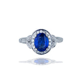 Ceylon Sapphire set in halo, VS-F Quality Diamond 18 karat ring, with milgraining