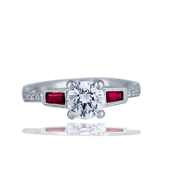 14 Kt Wht Gold Ruby and Diamond Engagement Ring Setting, With Filigree Milgrain Etching