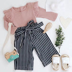Load image into Gallery viewer, Romper + Stripe Print Trousers