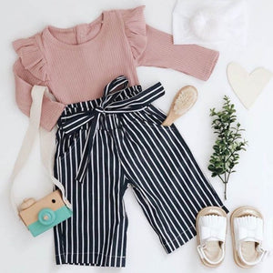 Romper + Stripe Print Trousers