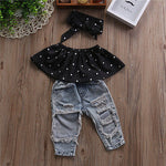Load image into Gallery viewer, Blouse Top + Denim Pants