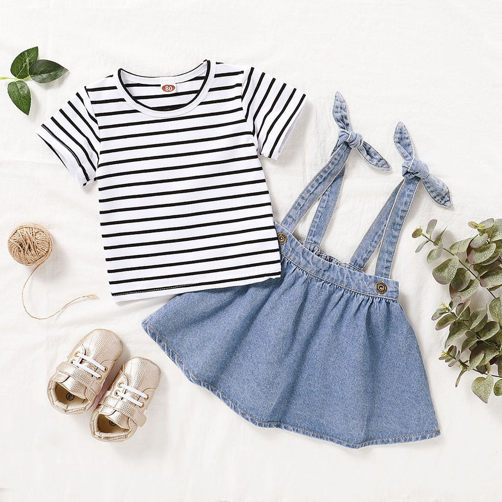 Suspender Skirt + Tshirt