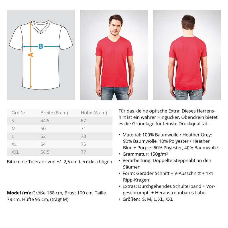 Gerüstbauer / Flatline  - Herren V-Neck Shirt - [Produkt_typ] - [Shop_Name]