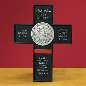 God bless fire fighters cross